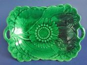 Large Wedgwood Green Majolica 'Sunflower' Comport c1866